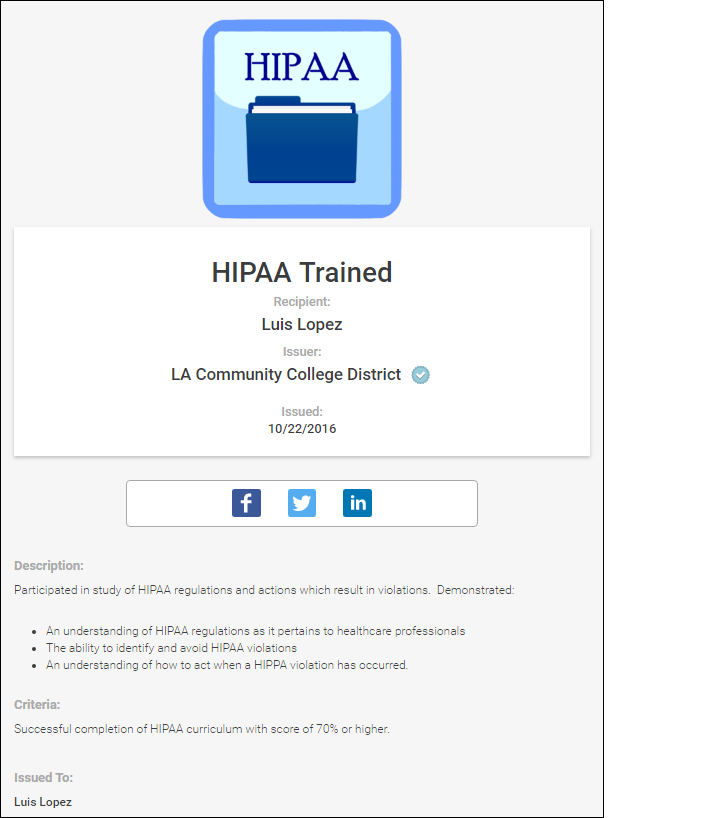 Figure 1. Example badge for knowledge about HIPAA regulations