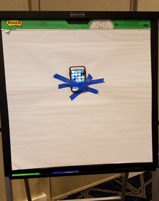 more abstract LearningOS design - phone taped to flip chart sheet