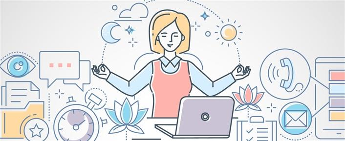 Cartoon of a woman in a zen pose with the business of life surrounding her