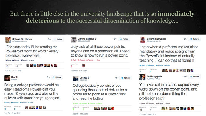 Examples of Tweets about PowerPoint usage
