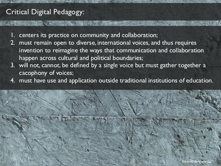 4 points about Critical Digital Pedagogy