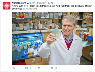 Figure 4. Research grant news from Northeastern