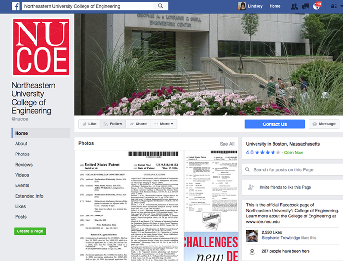 Figure 7. The Facebook page of Northeastern University's College of Engineering