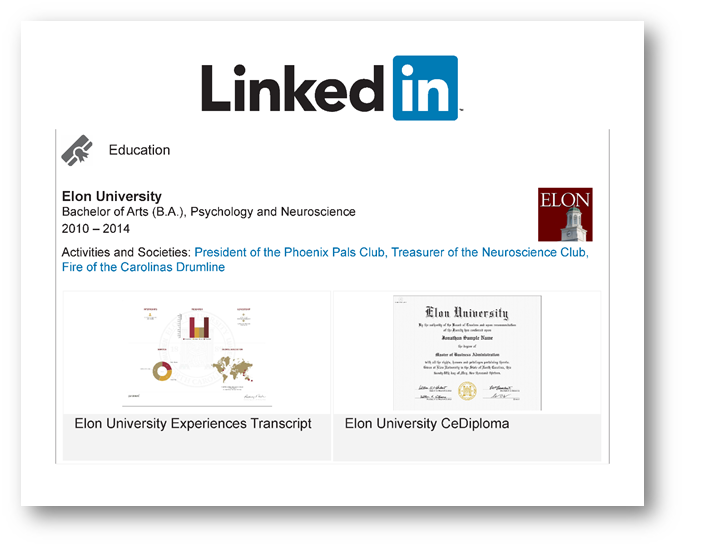 Figure 5. LinkedIn posting of the Visual EXP and certified electronic diploma