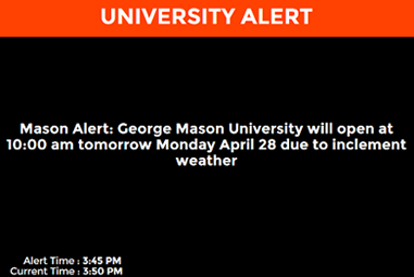 Figure 1. Emergency alert received by students on their mobiles