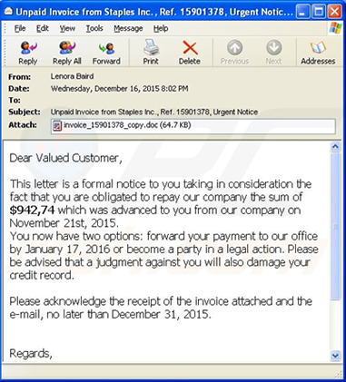 Figure 3. An example ransomware e-mail message