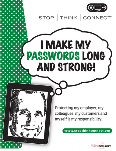 Long and Strong Passwords poster graphic