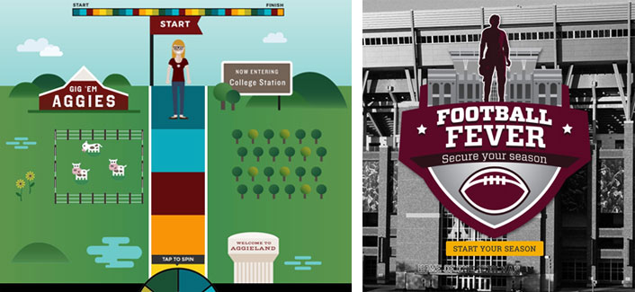 screenshots from Aggie Life and Football Fever