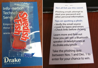 photo of Swedish Fish stapled to Drake University IT Services business card