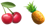 image of cherries and a pineapple to represent the word fruit