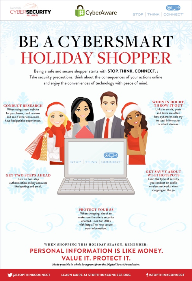 Be a Cybersmart Holiday Shopper. Conduct Research, Get Two Steps Ahead, Get Saavy About Wi-Fi Hotspots, When in Doubt Throw it Out, Protect Your Money. stopthinkconnect.org
